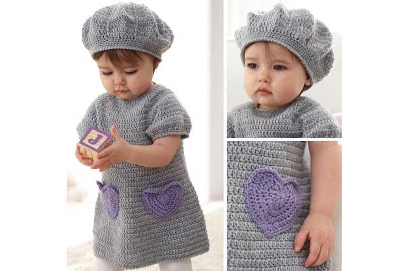 فستان تريكو أطفال بقبعة