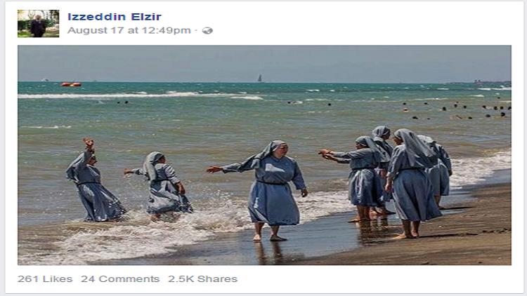 """إمام فلورنسا ينشر صور لراهبات بالبحر رداً على حظر """"البوركيني"""""""