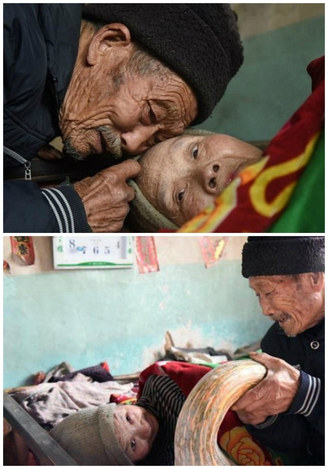 بالصور..مسن يرعى زوجته لمدة 56 عاماً