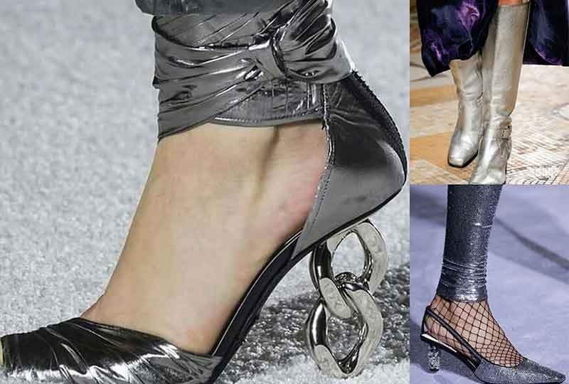 موضة أحذية شتاء 2019 الأحذية الفضية