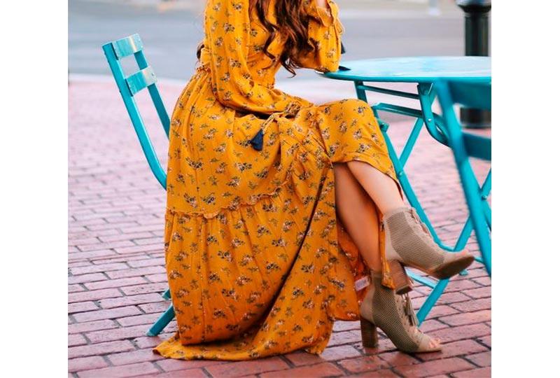 فستان مشجر أصفر شيفون