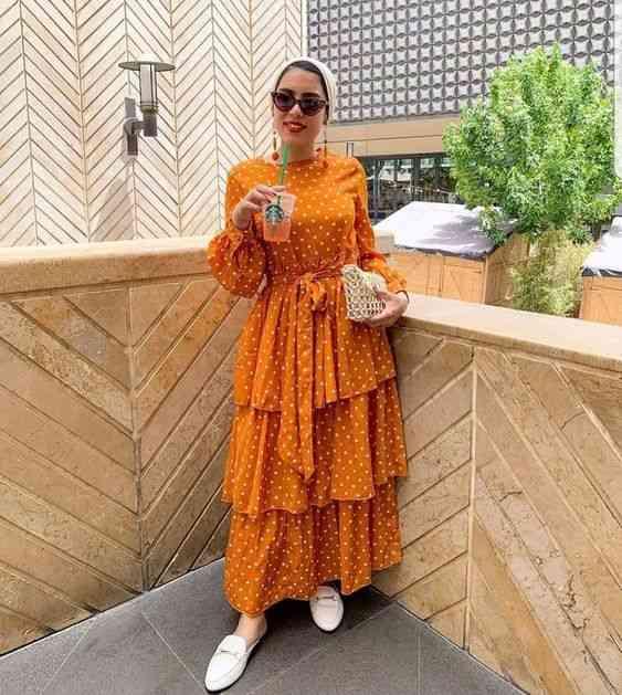 فستان واسع بطبقات للحجاب
