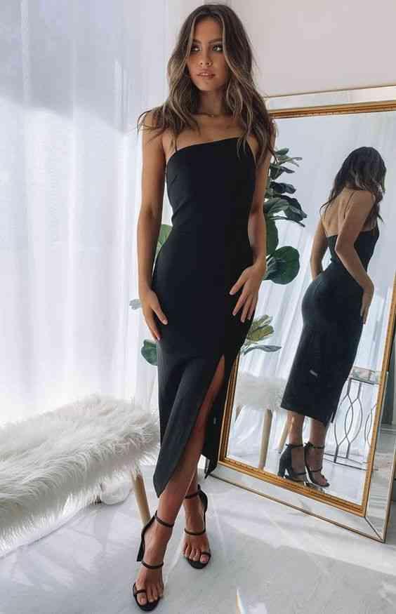 أنواع الفساتين فستان كوكتيل أسود