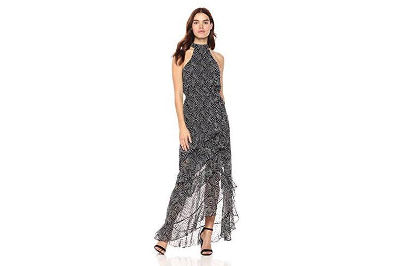فستان كاجوال طويل منقوش