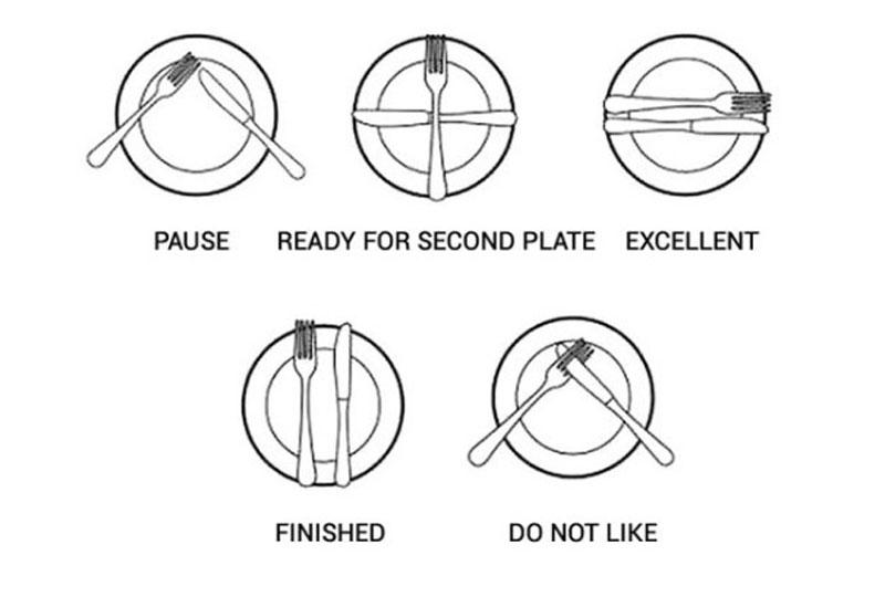 كيفية وضع الشوكة والسكين
