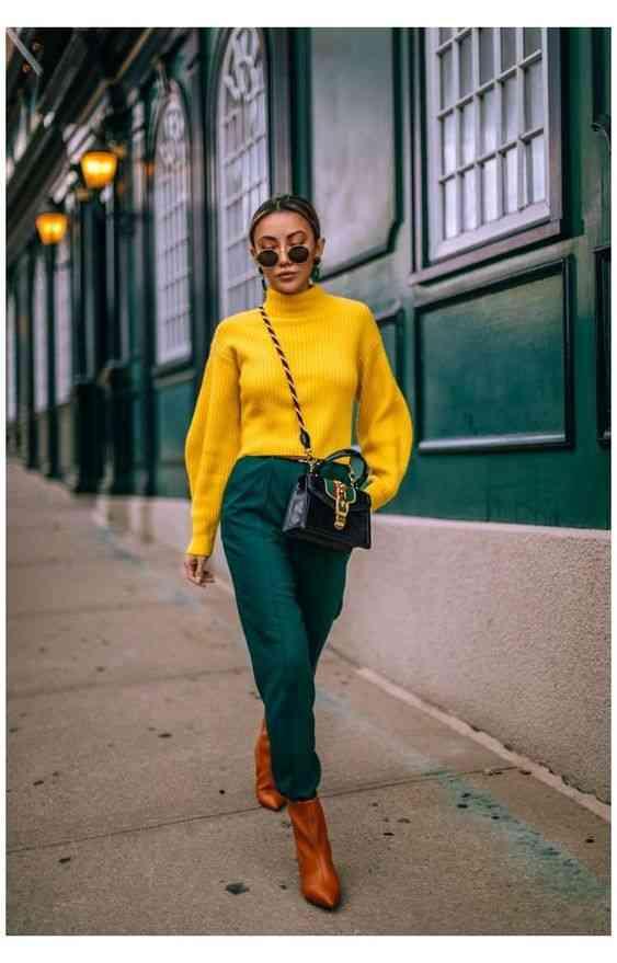 تنسيق اللون الأصفر مع الزيتي في الملابس