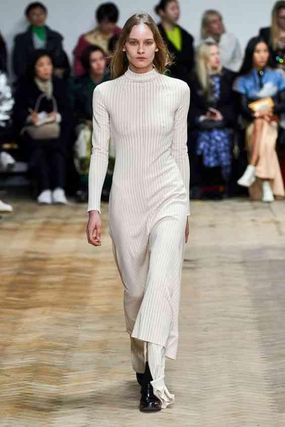 موضة فساتين 2020 فستان طويلة مستقيم بأكمام طويلة