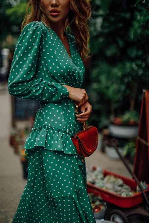 موضة صيف 2020 فستان أخضر بولكا دوتس