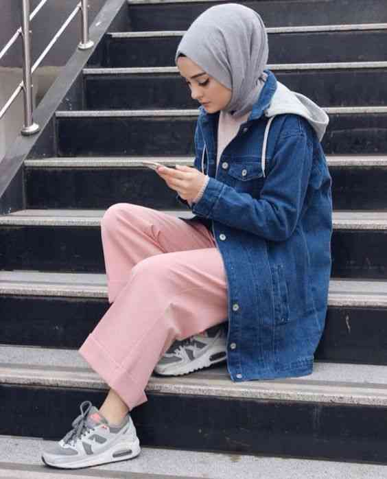أزياء محجبات تركية جاكيت جينز