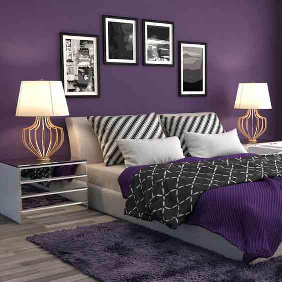 غرفة نوم باللون الموف