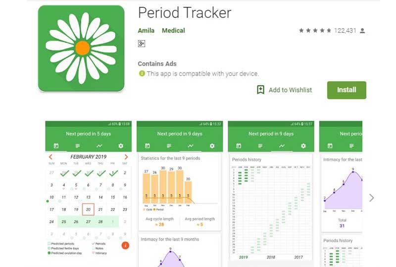 Period Tracker تطبيق أيام التبويض