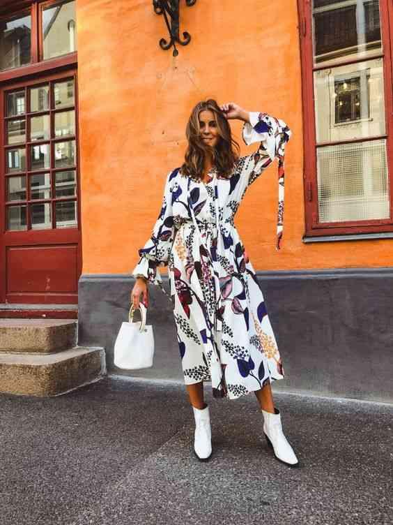 أفكار ملابس مريحة للخروج الفساتين مطبوعة بالورود