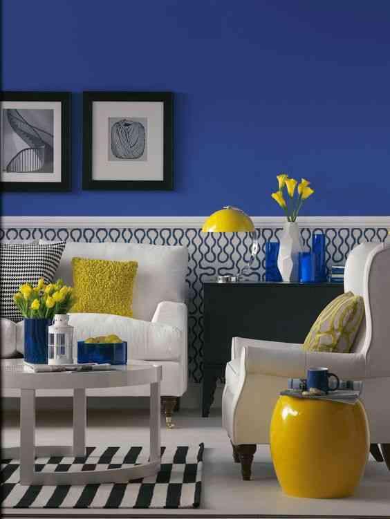 درجات اللون الأزرق مع الأصفر