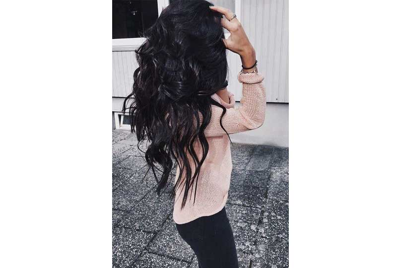 ألوان صبغات الشعر اللون الأسود الداكن للشعر الطويل