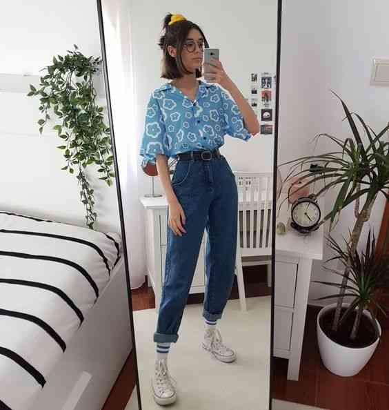 بنطلون واسع جينز مع قميص