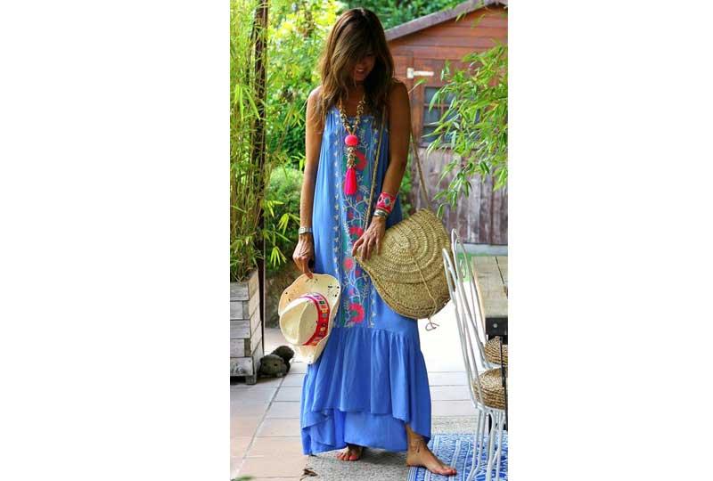 فستان زرق طويل بالستايل البوهيمي