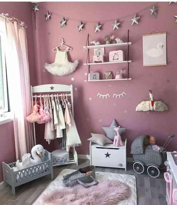 ديكور غرفة أطفال باللون الموف