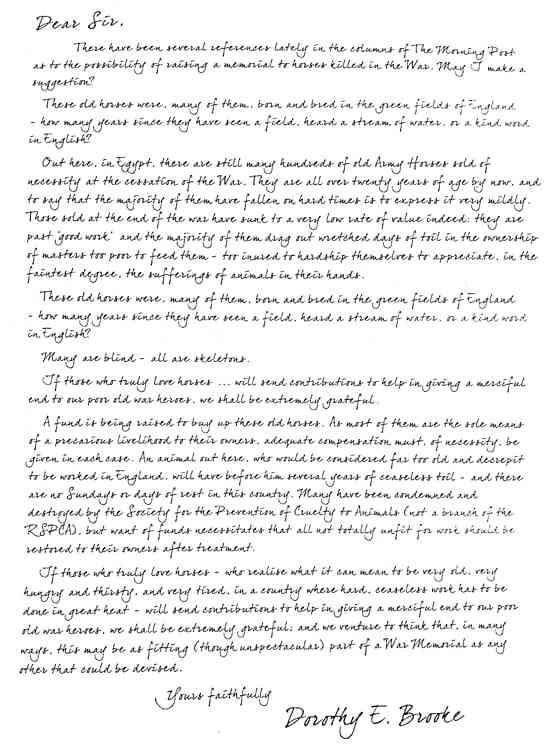 خطاب دوروثي بروك لمورنينج بوست