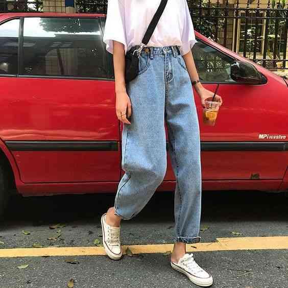 بنطلون واسع جينز بخصر ضيق