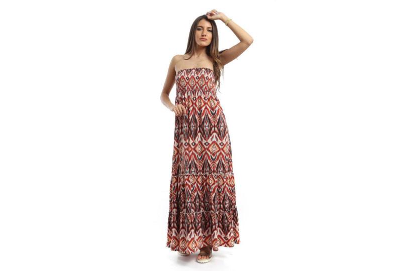 فستان للبحر طويل منقوش بدون أكتاف