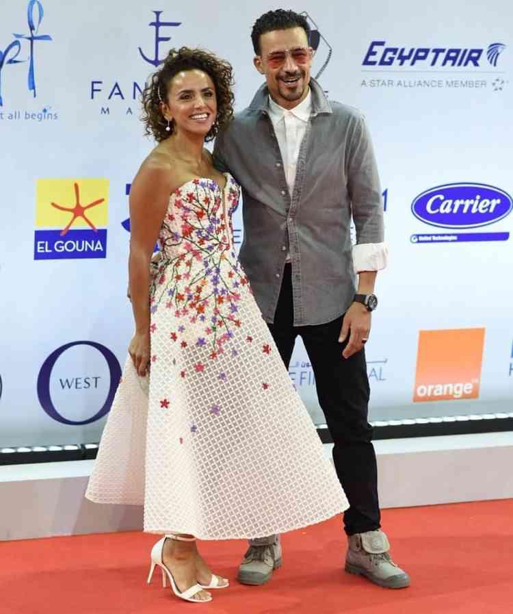 فساتين النجمات في مهرجان الجونة السينمائي 2019 علا رشدي وأحمد داوود