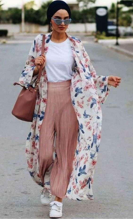 ملابس البحر كيمونو مع بنطلون واسع للمحجبات
