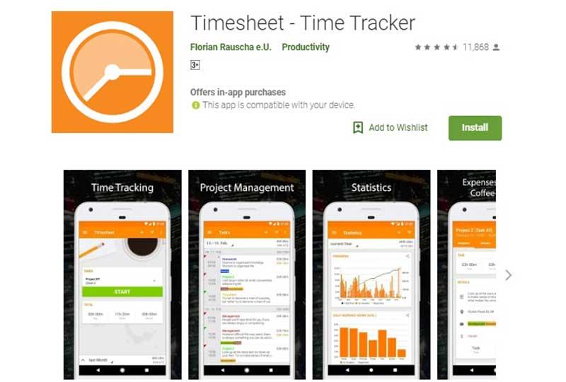 تطبيق Time sheet