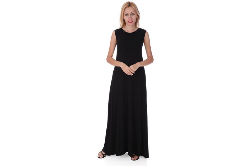 فستان أسود طويل كاجوال بدون أكمام