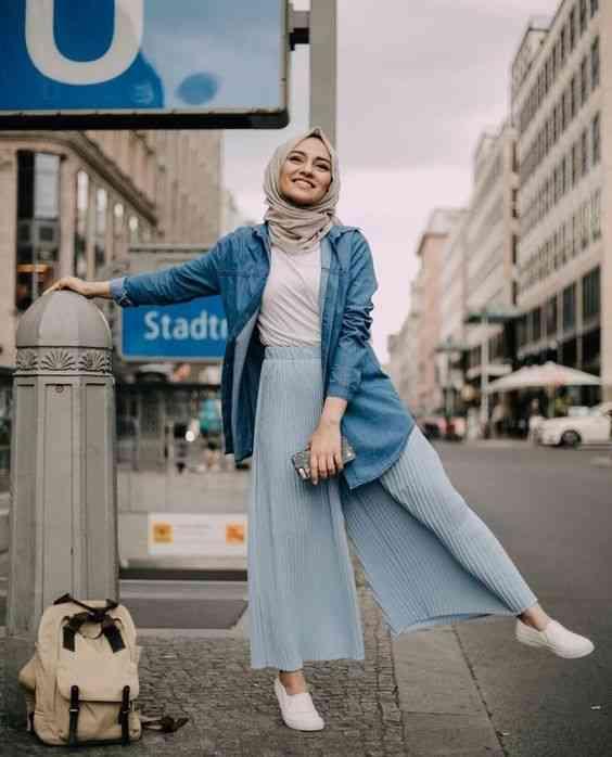 أزياء محجبات تركية قميص جينز