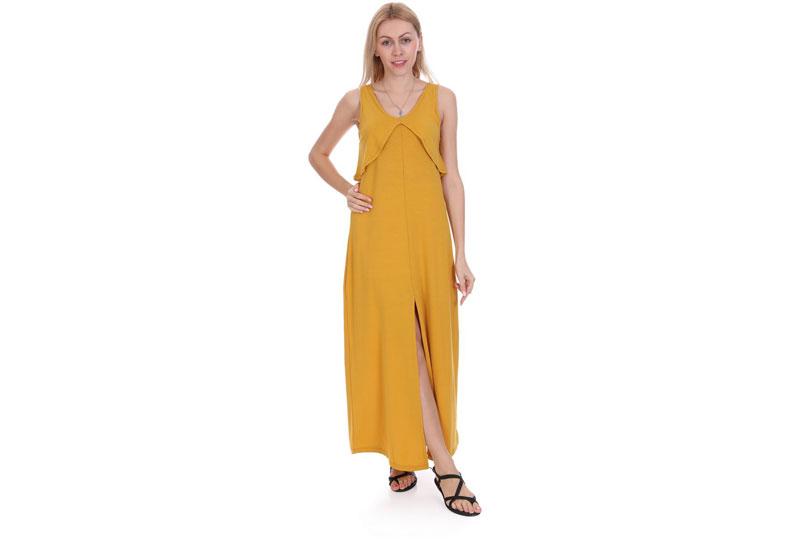 فستان طويل باللون المستردة