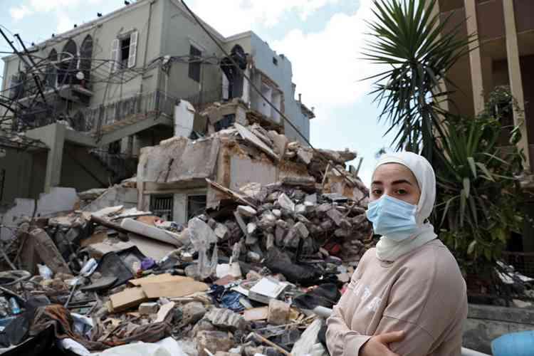 لاجئة سورية بعد تفجير بيروت