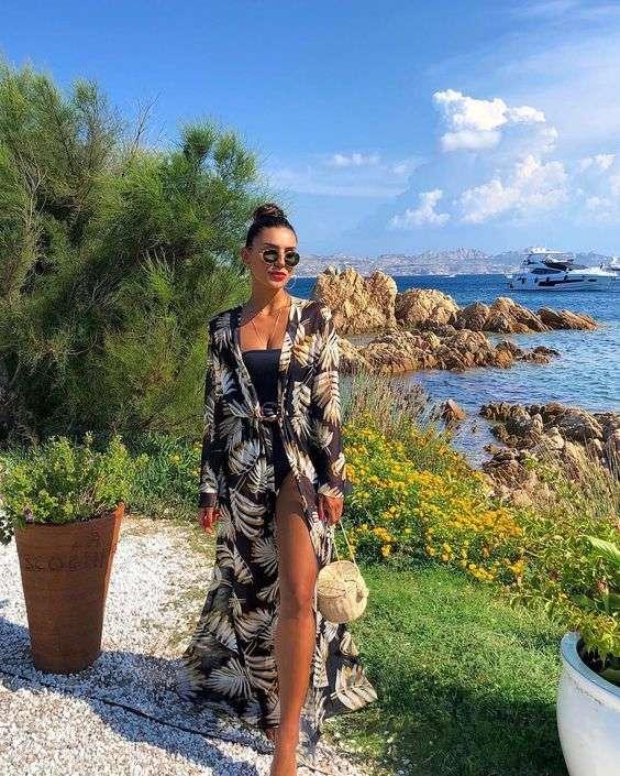 ملابس البحر الكيمونو الطويل مع المايوه