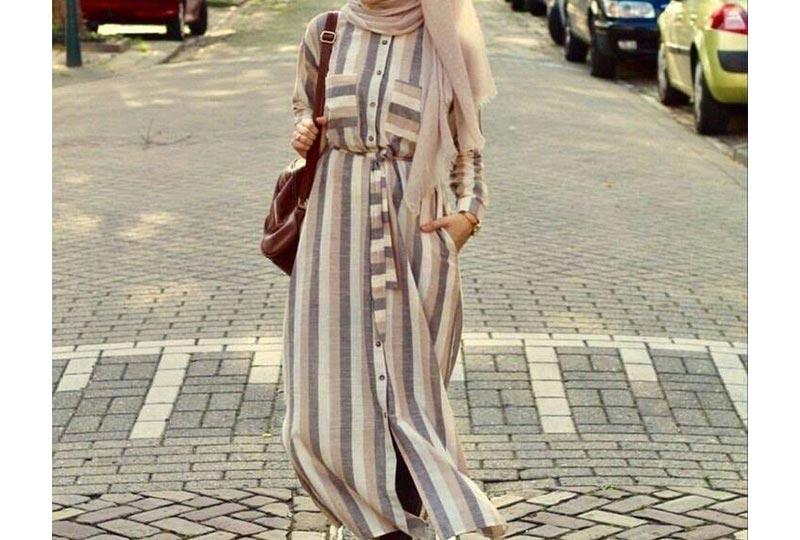 فستان قطن مخطط
