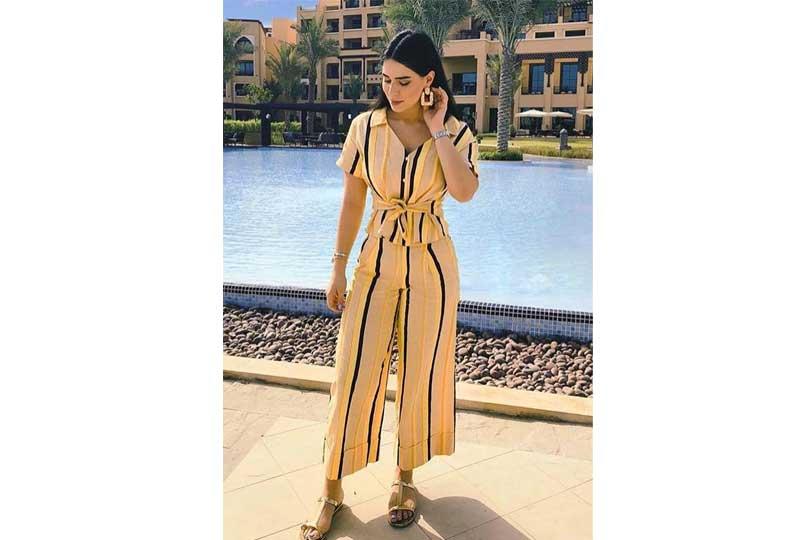 ملابس كاجوال للعيد جمبسوت مخطط