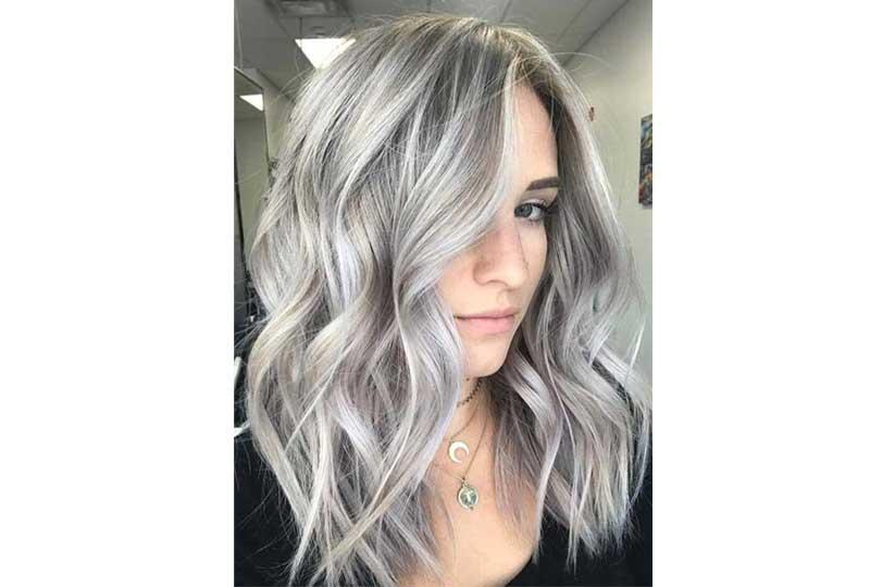 ألوان صبغات الشعر اللون البلاتيني الثلجي للشعر متوسط الطول