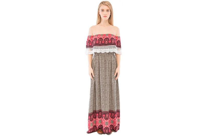 فستان منقوش طويل للبحر أوفر شولدر