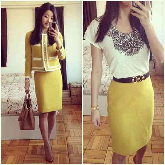 ملابس العيد تنورة صفراء