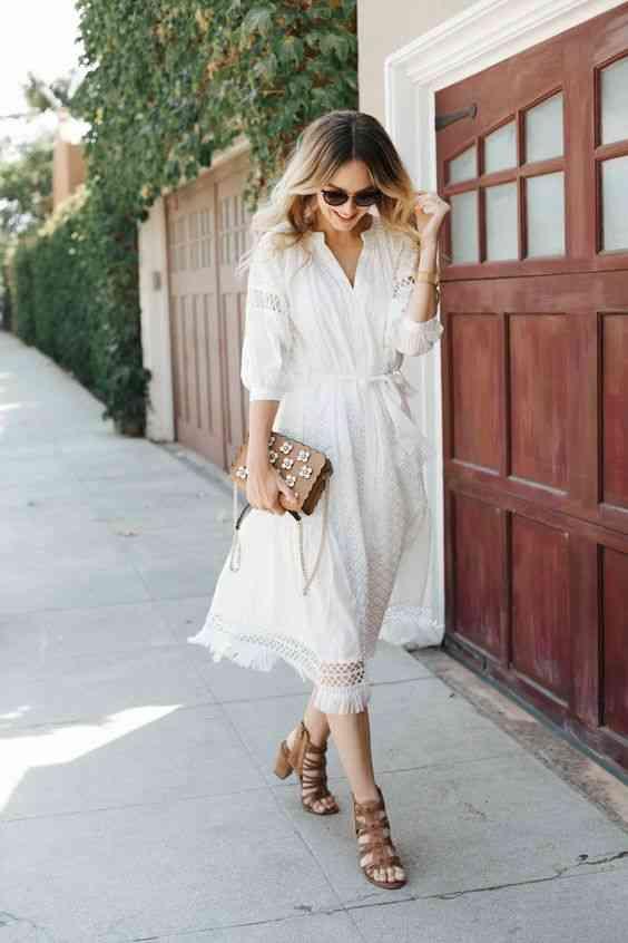 موضة صيف 2020 فستان أبيض طويل