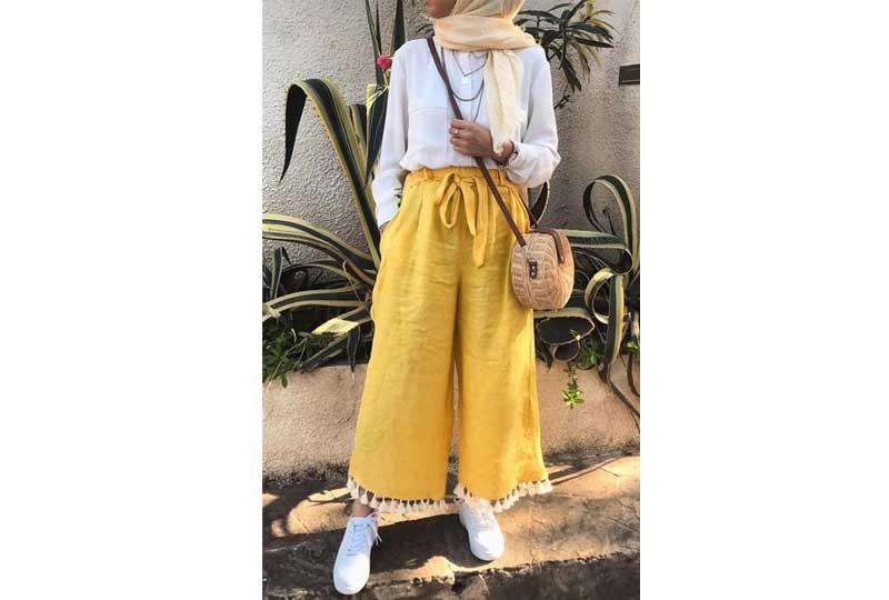 ملابس محجبات كاجوال بنطلونات واسعة باللون الأصفر