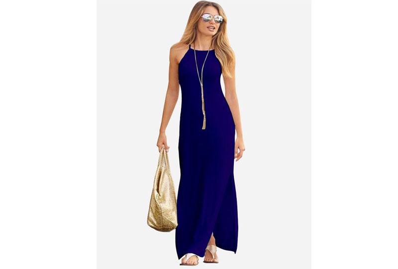 فستان للبحر أزرق طويل
