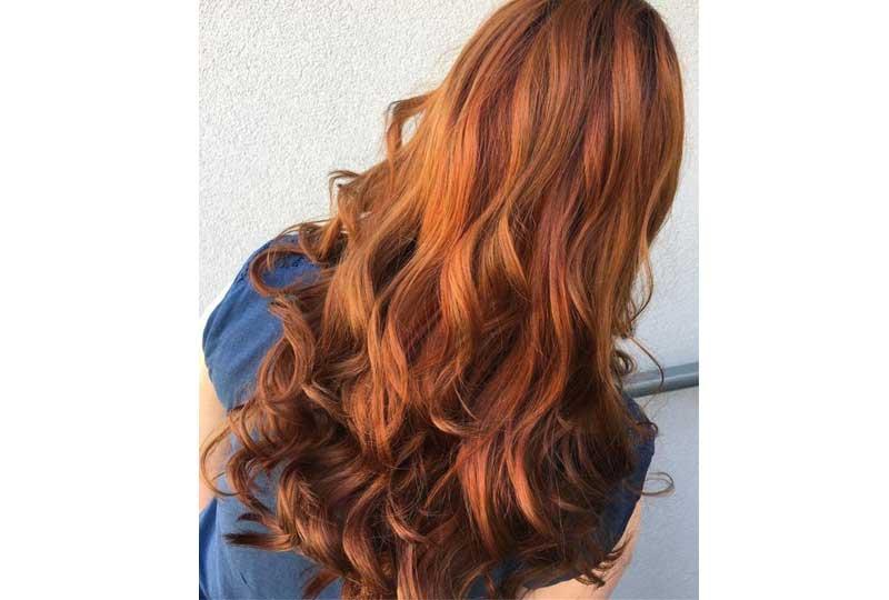 ألوان صبغات الشعر اللون البرتقالي الداكن للشعر الطويل