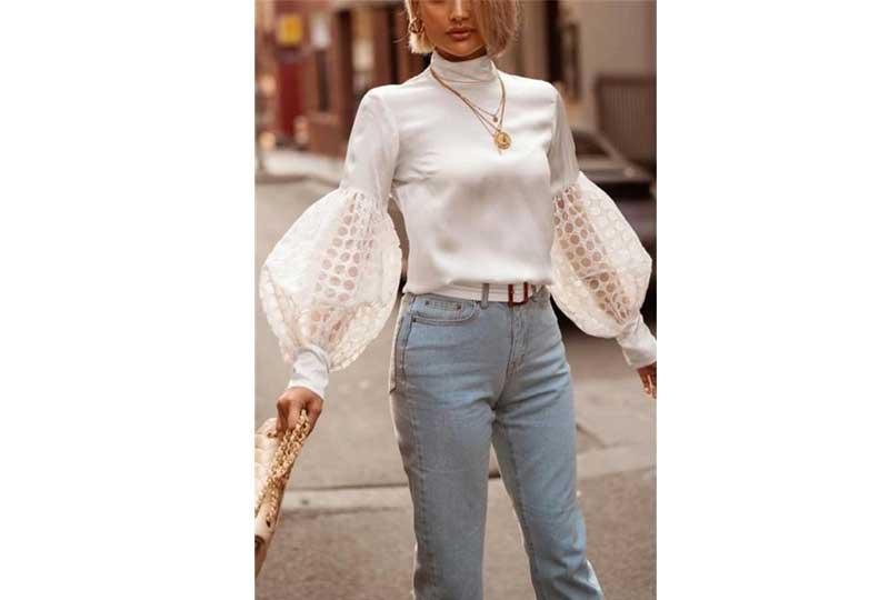 بلوزات سواريه ستان بأكمام كبيرة باللون الأبيض