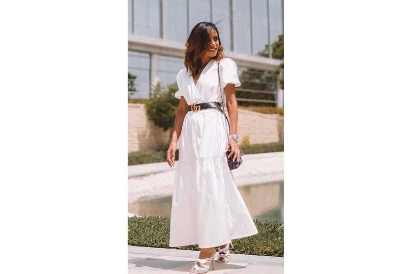 ملابس كاجوال للعيد فستان أبيض واسع