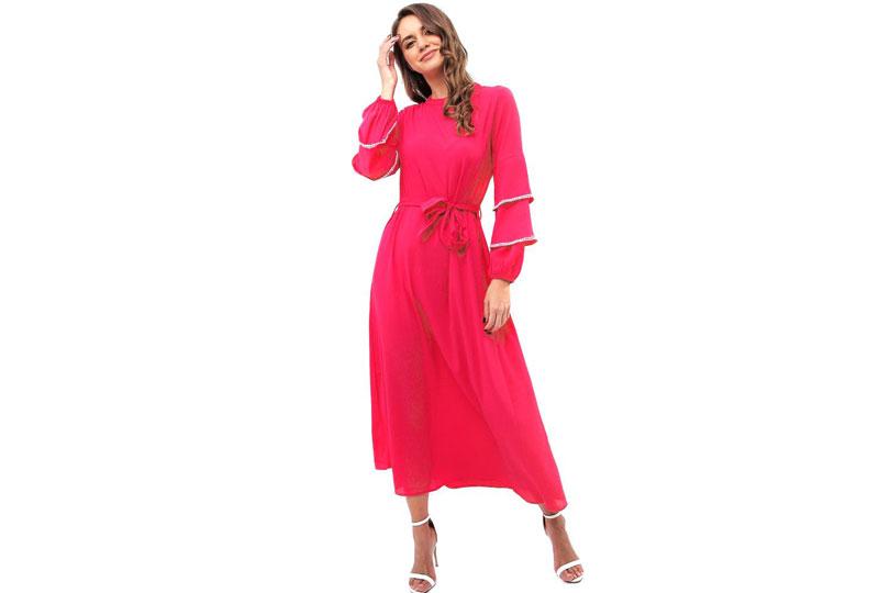 فستان كاجوال فوشيا طويل