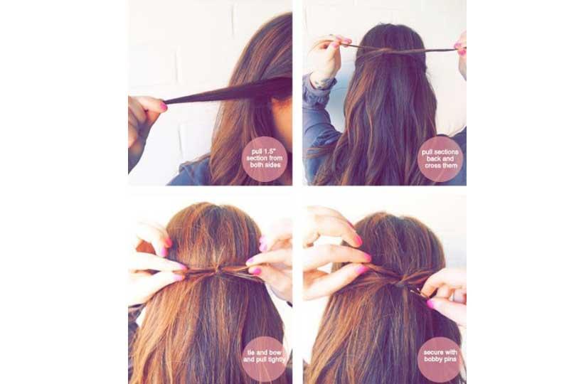 تسريحات شعر بسيطة تسريحة الفيونكة الخلفية
