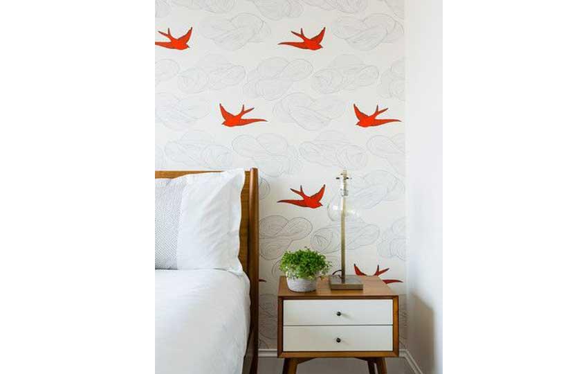ورق الحائط في غرف النوم الصغيرة