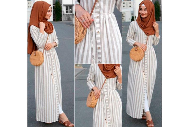 فستان مخطط أبيض