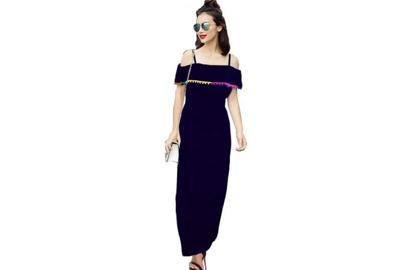 فستان للبحر أسود طويل