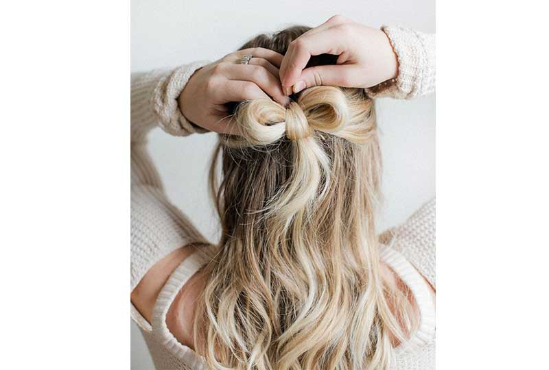 تسريحات شعر بسيطة تسريحة الفيونكة من الخلف