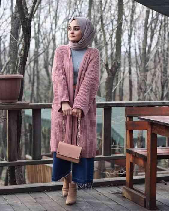 أزياء محجبات تركية كارديجان طويل